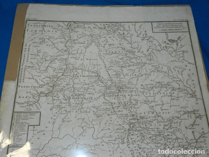 (M) MAPA CARTE MINERALOGIQUE DES MONTS OURALSKS, VOYAGE PALLAS, FINALES S.XVIII (Arte - Cartografía Antigua (hasta S. XIX))