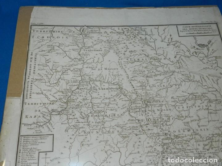 Arte: (M) MAPA CARTE MINERALOGIQUE DES MONTS OURALSKS, VOYAGE PALLAS, FINALES S.XVIII - Foto 5 - 188671016