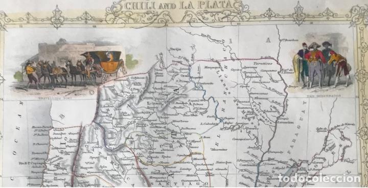 Arte: Mapa de Chile, Argentina, Uruguay y Paraguay (América del sur), 1855. Tallis/Rapkin - Foto 2 - 189483523