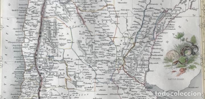 Arte: Mapa de Chile, Argentina, Uruguay y Paraguay (América del sur), 1855. Tallis/Rapkin - Foto 3 - 189483523