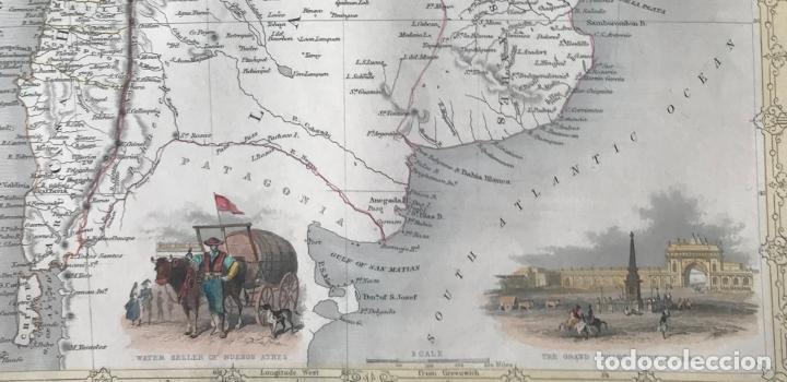 Arte: Mapa de Chile, Argentina, Uruguay y Paraguay (América del sur), 1855. Tallis/Rapkin - Foto 4 - 189483523