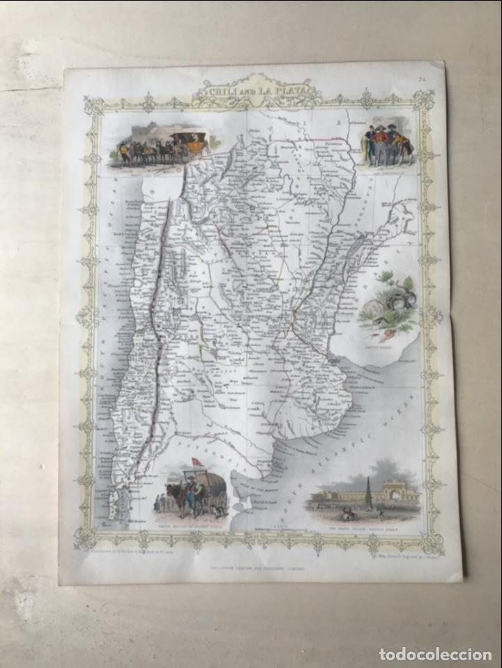 Arte: Mapa de Chile, Argentina, Uruguay y Paraguay (América del sur), 1855. Tallis/Rapkin - Foto 5 - 189483523