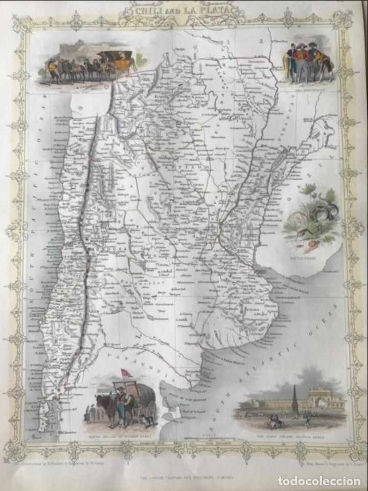 Arte: Mapa de Chile, Argentina, Uruguay y Paraguay (América del sur), 1855. Tallis/Rapkin - Foto 6 - 189483523