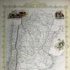 Arte: MAPA DE CHILE, ARGENTINA, URUGUAY Y PARAGUAY (AMÉRICA DEL SUR), 1855. TALLIS/RAPKIN. Lote 189483523