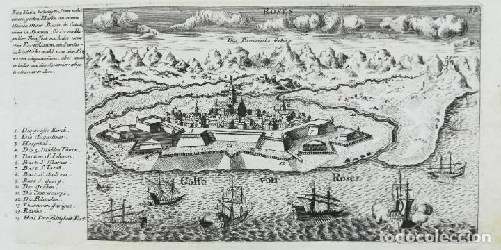GRABADO DE ROSES GIRONA - STRIDBECK - BODENEHR - AÑO 1717 (Arte - Cartografía Antigua (hasta S. XIX))