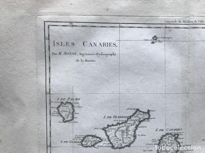 Arte: Mapa de las Islas Canarias (España), 1787. R. Bonne - Foto 3 - 189744861