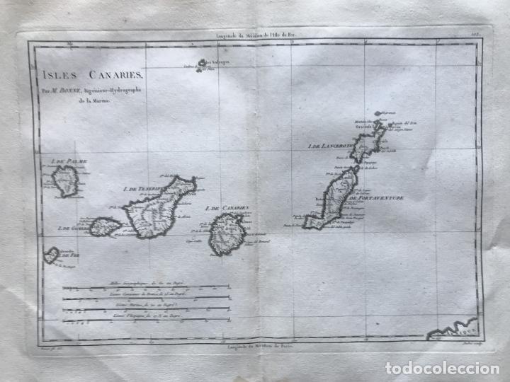 Arte: Mapa de las Islas Canarias (España), 1787. R. Bonne - Foto 7 - 189744861
