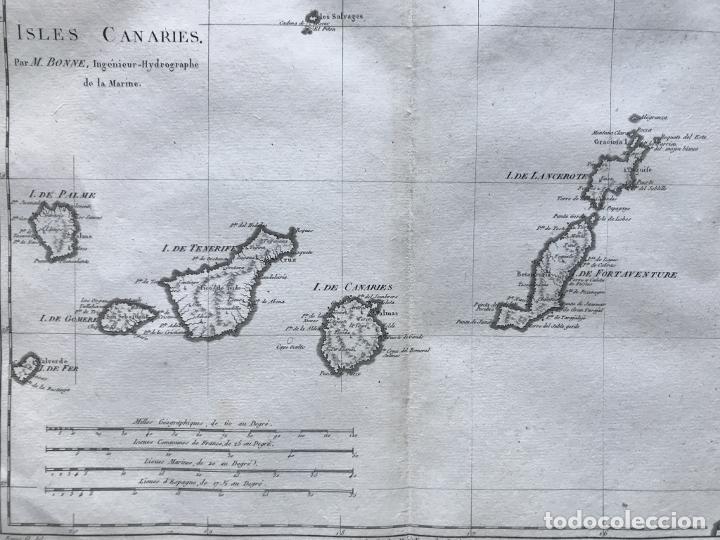 Arte: Mapa de las Islas Canarias (España), 1787. R. Bonne - Foto 8 - 189744861