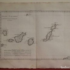 Arte: MAPA DE LAS ISLAS CANARIAS (ESPAÑA), 1787. R. BONNE. Lote 189744861
