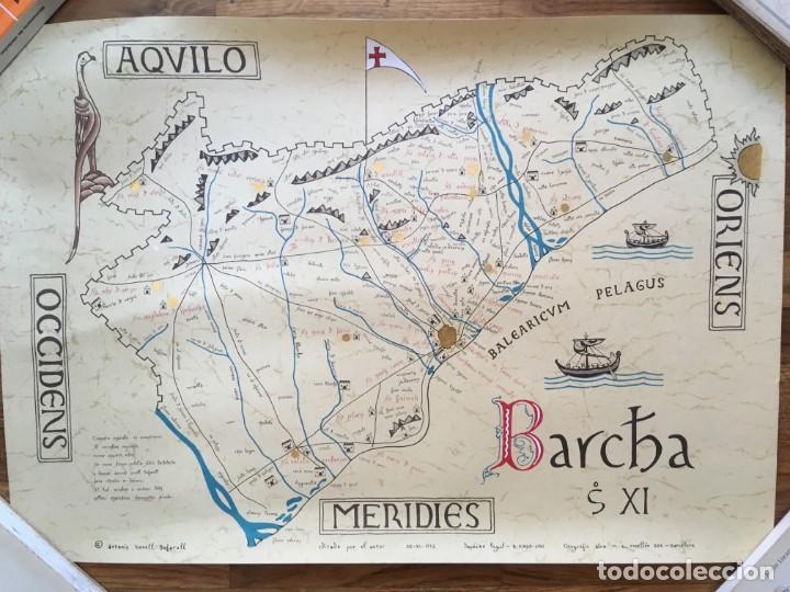 BARCELONA S. XI - LITOGRAFIA MINIADA - BARC[IN]A - 69,5X50CM - ANTONIO NOVELL BOFARULL (Arte - Cartografía Antigua (hasta S. XIX))