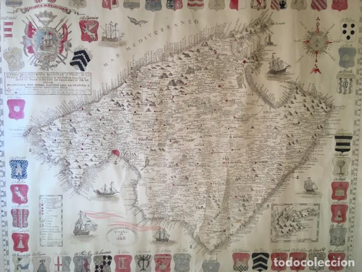 MAPA COLOREADO PALMA DE MALLORCA AGRADECIDA A ANTONIO BARCELÓ Y PONT TENIENTE GENERAL 1716 - 1797 (Arte - Cartografía Antigua (hasta S. XIX))