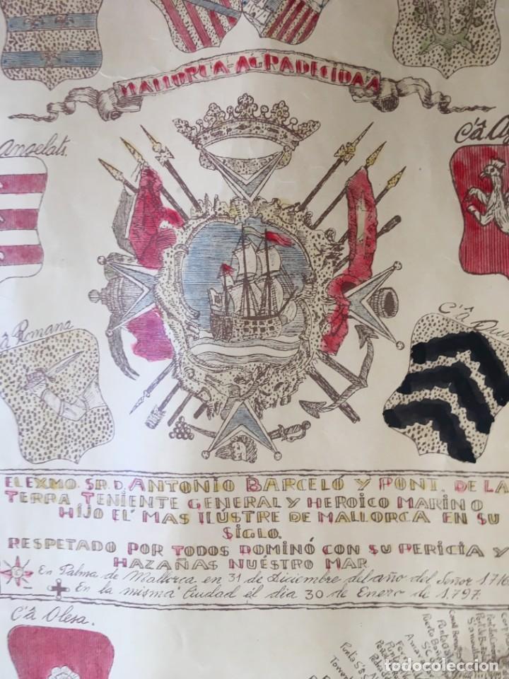 Arte: MAPA COLOREADO PALMA DE MALLORCA AGRADECIDA A ANTONIO BARCELÓ Y PONT TENIENTE GENERAL 1716 - 1797 - Foto 3 - 190015991