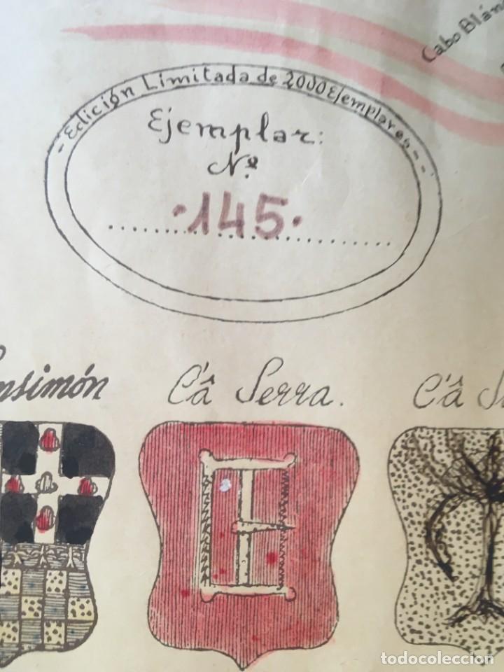 Arte: MAPA COLOREADO PALMA DE MALLORCA AGRADECIDA A ANTONIO BARCELÓ Y PONT TENIENTE GENERAL 1716 - 1797 - Foto 4 - 190015991
