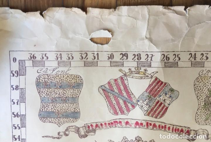 Arte: MAPA COLOREADO PALMA DE MALLORCA AGRADECIDA A ANTONIO BARCELÓ Y PONT TENIENTE GENERAL 1716 - 1797 - Foto 10 - 190015991