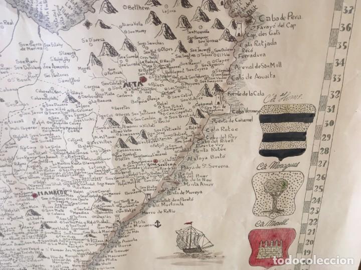 Arte: MAPA COLOREADO PALMA DE MALLORCA AGRADECIDA A ANTONIO BARCELÓ Y PONT TENIENTE GENERAL 1716 - 1797 - Foto 11 - 190015991