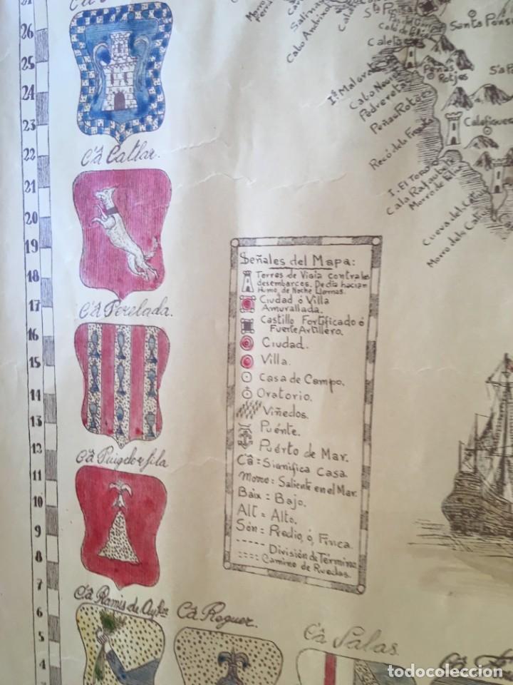Arte: MAPA COLOREADO PALMA DE MALLORCA AGRADECIDA A ANTONIO BARCELÓ Y PONT TENIENTE GENERAL 1716 - 1797 - Foto 12 - 190015991