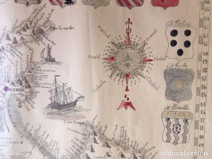 Arte: MAPA COLOREADO PALMA DE MALLORCA AGRADECIDA A ANTONIO BARCELÓ Y PONT TENIENTE GENERAL 1716 - 1797 - Foto 13 - 190015991