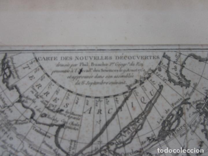 Arte: Mapa Cartográfico - Combinación de Dos mapas en la misma Plancha - Phillipe Buache - Año 1772 - Foto 6 - 190116373