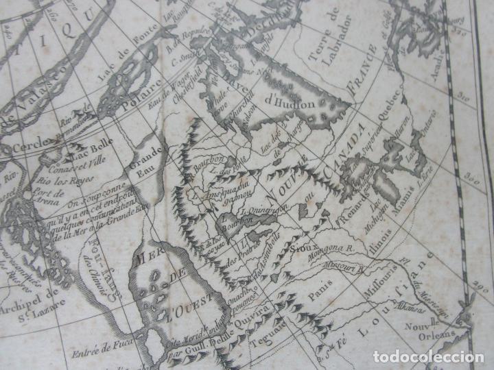 Arte: Mapa Cartográfico - Combinación de Dos mapas en la misma Plancha - Phillipe Buache - Año 1772 - Foto 9 - 190116373