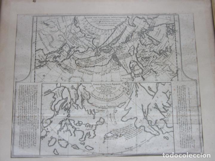 Arte: Mapa Cartográfico - Combinación de Dos mapas en la misma Plancha - Phillipe Buache - Año 1772 - Foto 10 - 190116373