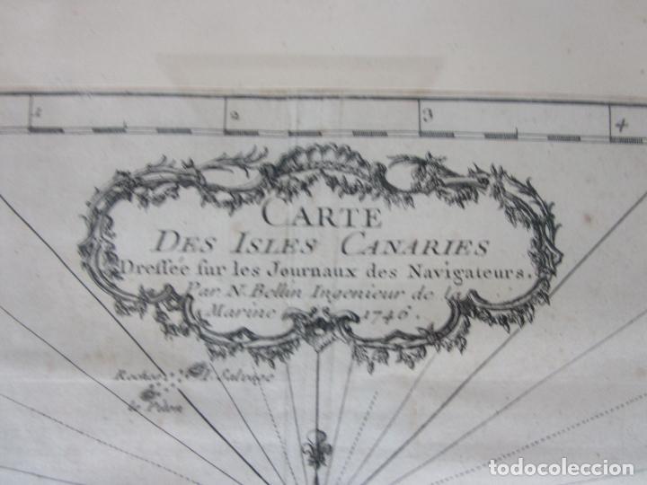 Arte: Mapa Cartográfico - Carte des Isles Canarias - Jacques Nicolas Bellín (1703-1772) - Año 1746 - Foto 3 - 190119853