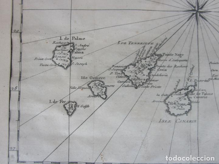 Arte: Mapa Cartográfico - Carte des Isles Canarias - Jacques Nicolas Bellín (1703-1772) - Año 1746 - Foto 4 - 190119853