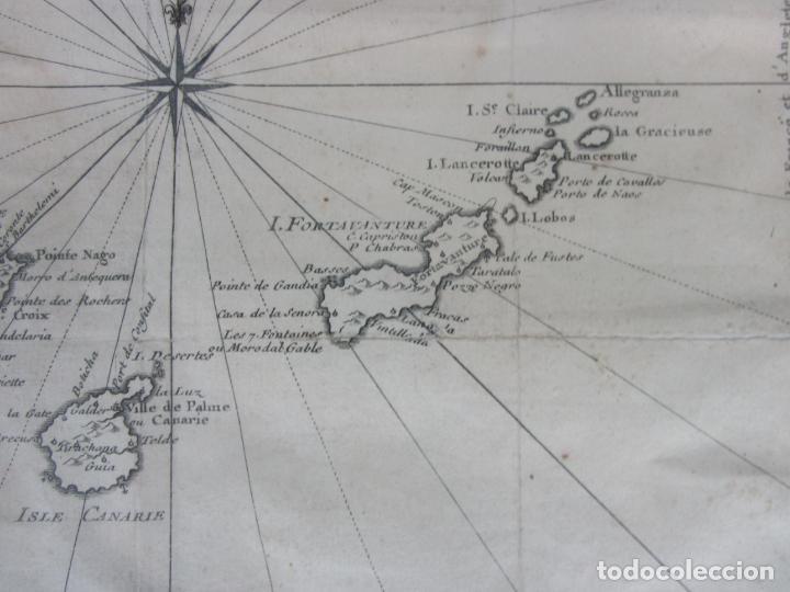 Arte: Mapa Cartográfico - Carte des Isles Canarias - Jacques Nicolas Bellín (1703-1772) - Año 1746 - Foto 5 - 190119853