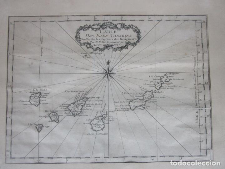 Arte: Mapa Cartográfico - Carte des Isles Canarias - Jacques Nicolas Bellín (1703-1772) - Año 1746 - Foto 7 - 190119853
