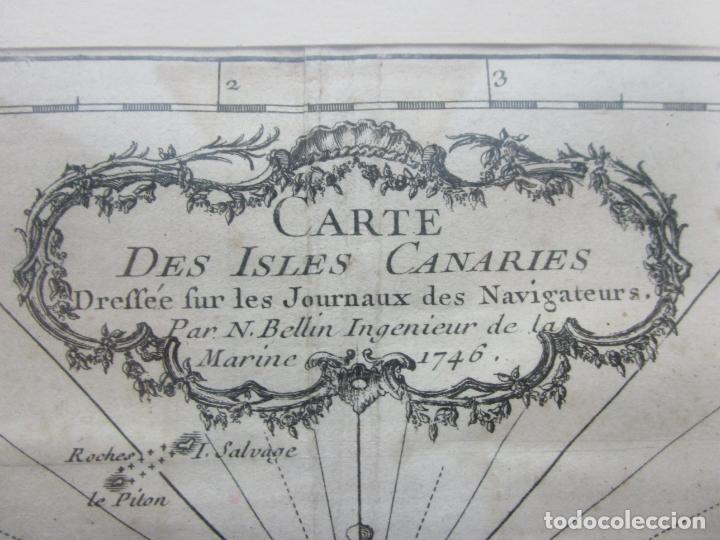 Arte: Mapa Cartográfico - Carte des Isles Canarias - Jacques Nicolas Bellín (1703-1772) - Año 1746 - Foto 8 - 190119853