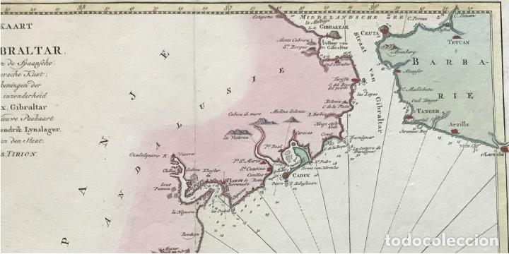 Arte: Gran carta náutica del sur de España y sur y centro de Portugal, 1759. Isaac Tirion - Foto 2 - 190289175