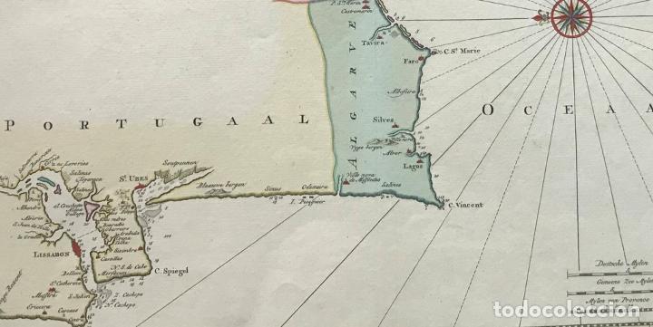 Arte: Gran carta náutica del sur de España y sur y centro de Portugal, 1759. Isaac Tirion - Foto 4 - 190289175
