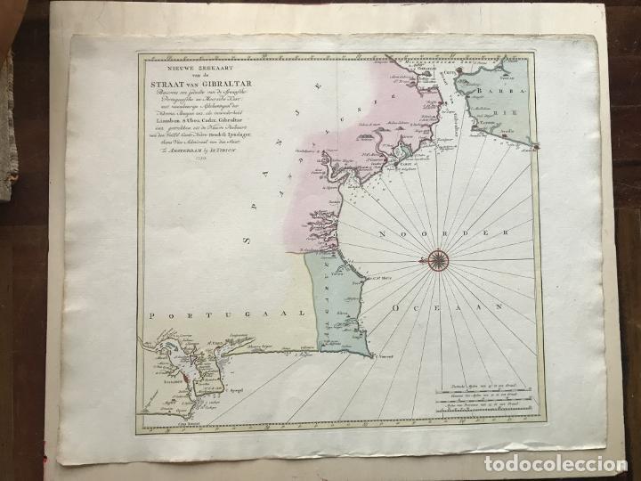 Arte: Gran carta náutica del sur de España y sur y centro de Portugal, 1759. Isaac Tirion - Foto 5 - 190289175