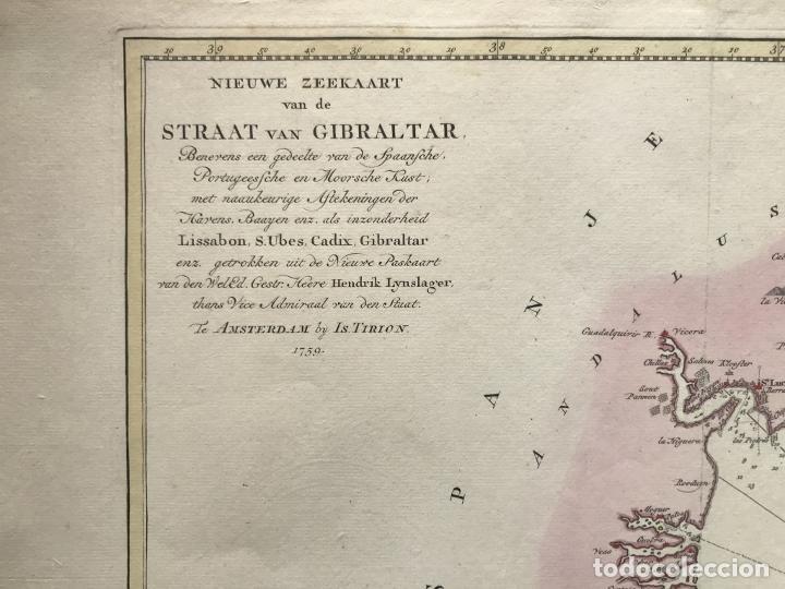 Arte: Gran carta náutica del sur de España y sur y centro de Portugal, 1759. Isaac Tirion - Foto 6 - 190289175