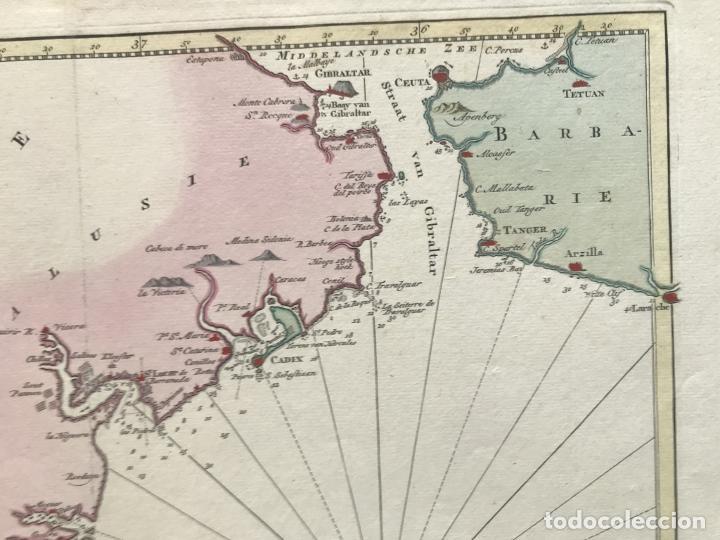 Arte: Gran carta náutica del sur de España y sur y centro de Portugal, 1759. Isaac Tirion - Foto 7 - 190289175