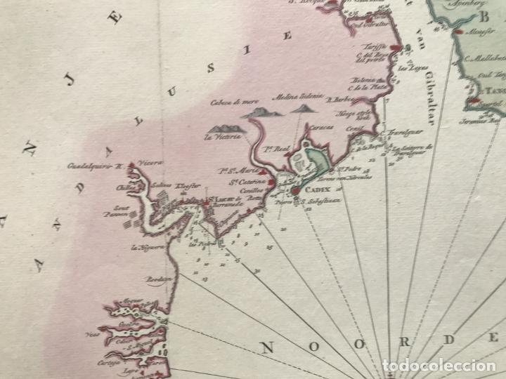 Arte: Gran carta náutica del sur de España y sur y centro de Portugal, 1759. Isaac Tirion - Foto 8 - 190289175