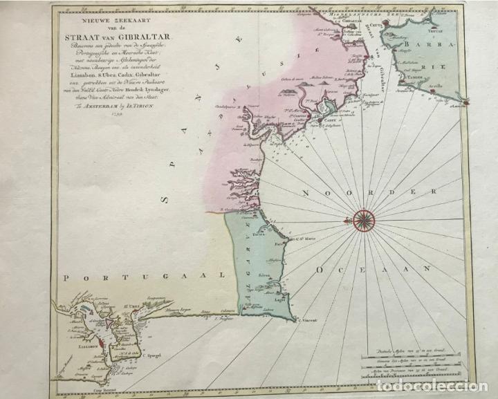 GRAN CARTA NÁUTICA DEL SUR DE ESPAÑA Y SUR Y CENTRO DE PORTUGAL, 1759. ISAAC TIRION (Arte - Cartografía Antigua (hasta S. XIX))