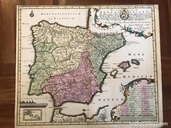 Arte: Gran mapa de la orden de los Agustinos en España y Portugal, 1730. M. Seutter - Foto 2 - 190426320