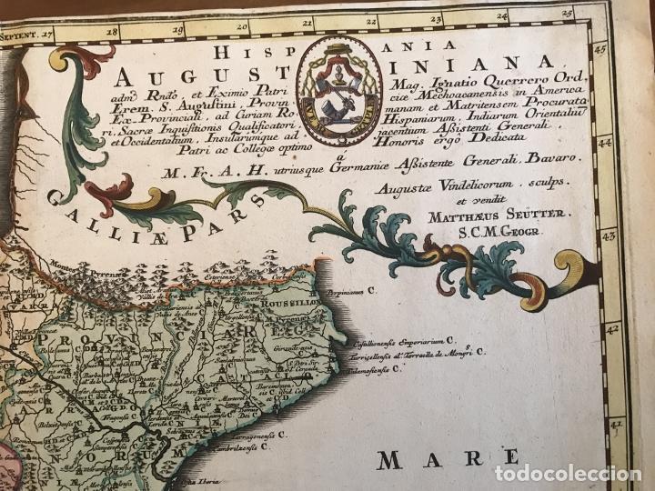 Arte: Gran mapa de la orden de los Agustinos en España y Portugal, 1730. M. Seutter - Foto 5 - 190426320