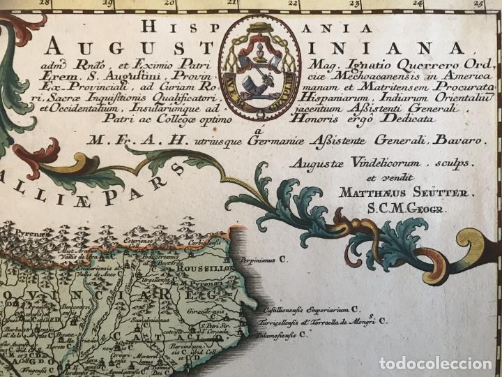 Arte: Gran mapa de la orden de los Agustinos en España y Portugal, 1730. M. Seutter - Foto 13 - 190426320