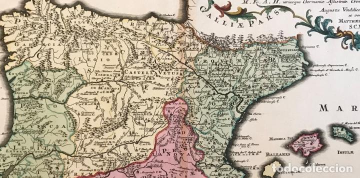 Arte: Gran mapa de la orden de los Agustinos en España y Portugal, 1730. M. Seutter - Foto 16 - 190426320