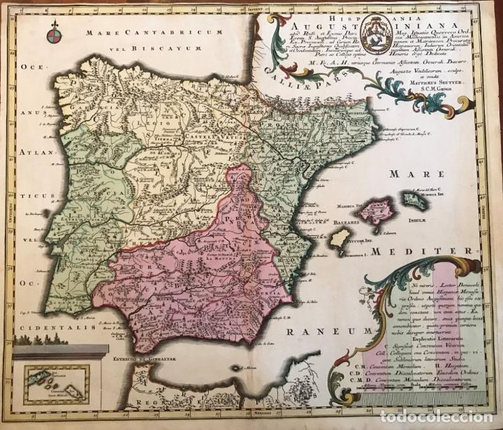 GRAN MAPA DE LA ORDEN DE LOS AGUSTINOS EN ESPAÑA Y PORTUGAL, 1730. M. SEUTTER (Arte - Cartografía Antigua (hasta S. XIX))