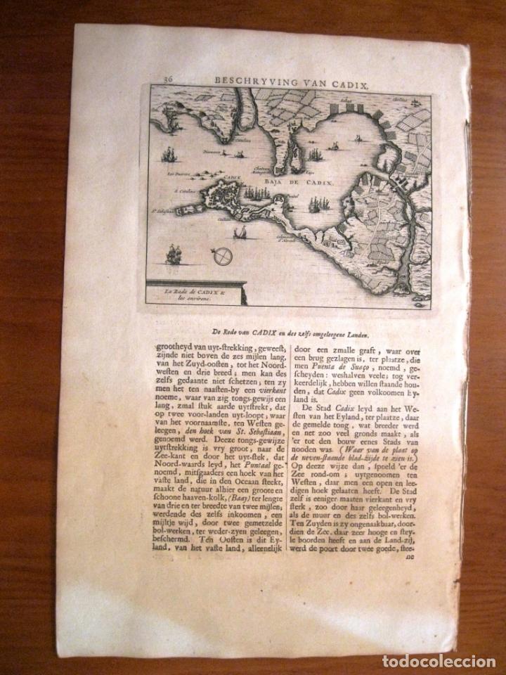 Arte: Mapa de la bahia y ciudad de Cádiz (España), 1707. P. Van der Aa - Foto 3 - 190636040