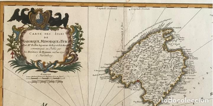 Arte: Gran mapa de las islas Baleares (España), 1756. Bellin/Homann - Foto 2 - 190700841