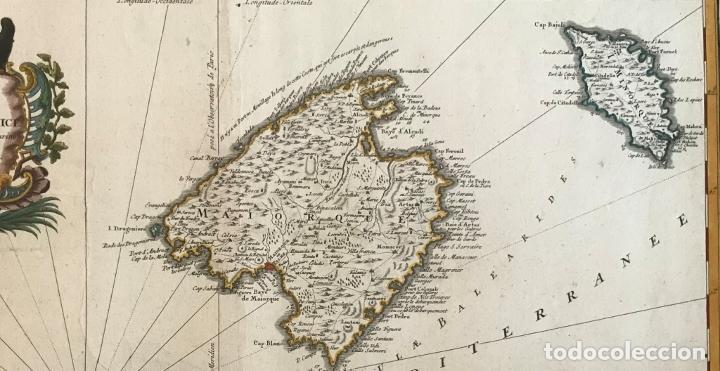 Arte: Gran mapa de las islas Baleares (España), 1756. Bellin/Homann - Foto 4 - 190700841