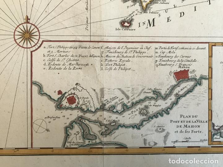 Arte: Gran mapa de las islas Baleares (España), 1756. Bellin/Homann - Foto 11 - 190700841