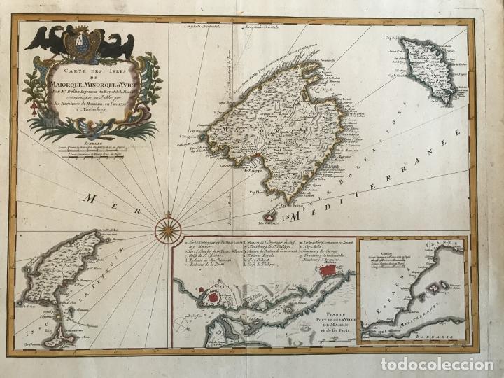 GRAN MAPA DE LAS ISLAS BALEARES (ESPAÑA), 1756. BELLIN/HOMANN (Arte - Cartografía Antigua (hasta S. XIX))