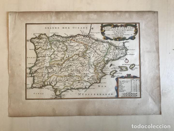Arte: Mapa de España y Portugal, 1701. Nicolas de Fer/van Loon - Foto 3 - 190739606