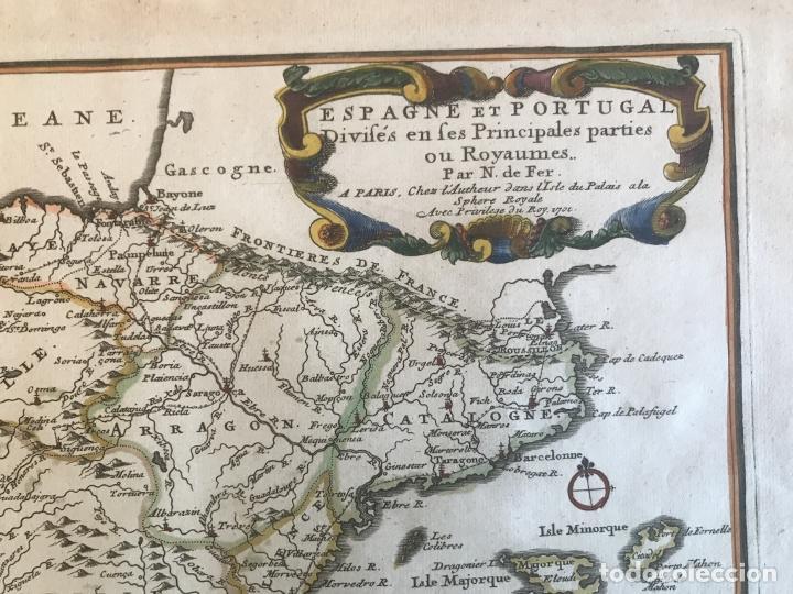 Arte: Mapa de España y Portugal, 1701. Nicolas de Fer/van Loon - Foto 5 - 190739606