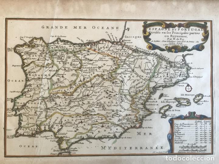 Arte: Mapa de España y Portugal, 1701. Nicolas de Fer/van Loon - Foto 11 - 190739606