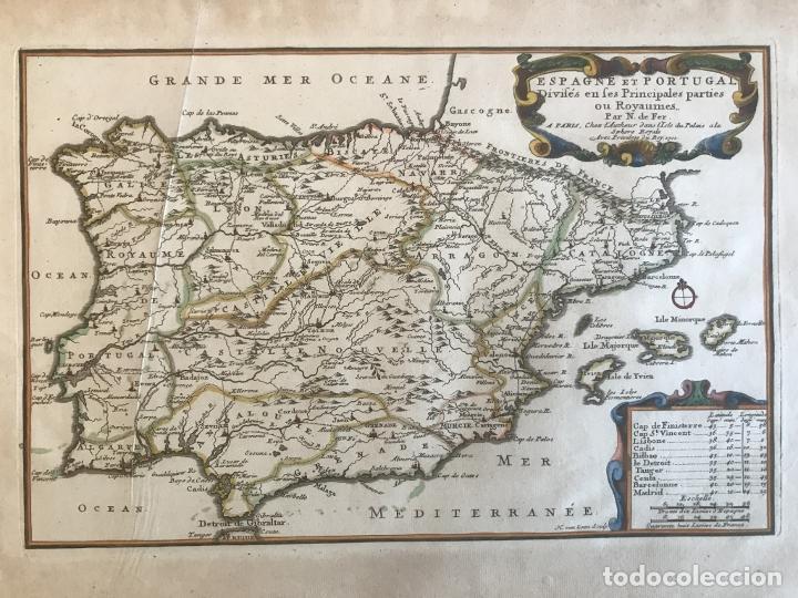 MAPA DE ESPAÑA Y PORTUGAL, 1701. NICOLAS DE FER/VAN LOON (Arte - Cartografía Antigua (hasta S. XIX))